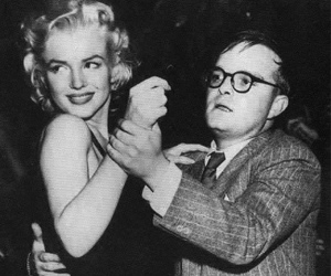 Marilyn Monroe, Truman Capote, and black and white image