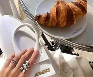 bag, croissant, and fashion image