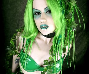 green, latex, and woman image