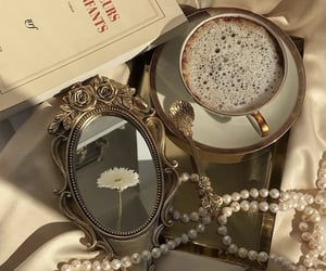 coffee, flowers, and pearls image
