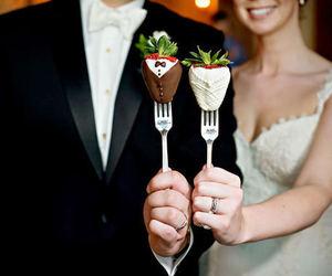 wedding, strawberry, and chocolate image