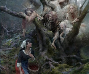 branches, woman, and dark fantasy image