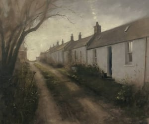 cottage, painting, and road image