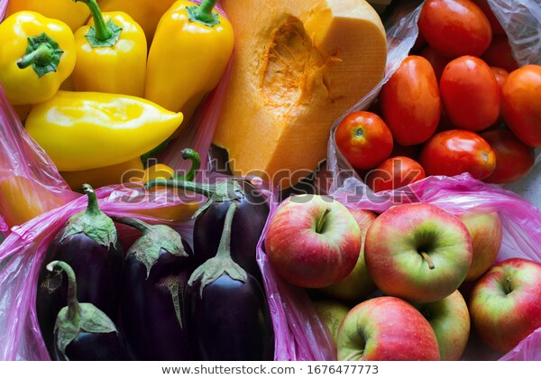 apples, plastic bags, and pumpkin image