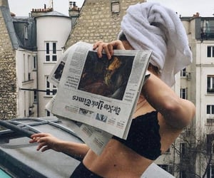 girl, style, and newspaper image