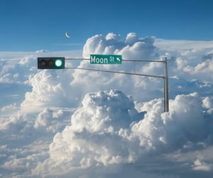 clouds, aesthetic, and moon image