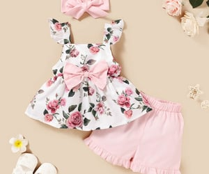 baby girl, summer outwear, and pink image