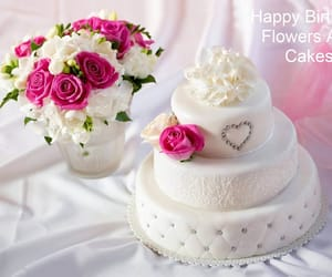 cake birthday, cake flowers, and birthday roses image
