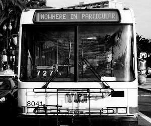 bus, nowhere, and black and white image