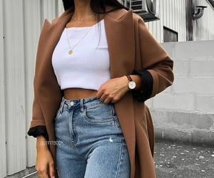 blue jeans, camel, and coat image