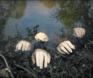 hands, water, and creepy image