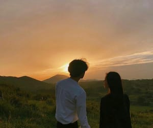 couple, love, and sunset image