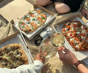 food, picnic, and pizza image