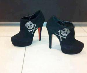 shoes, skull, and black image