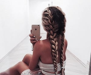 blonde, braided, and blonde teen image