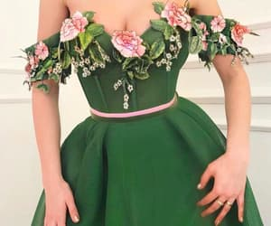clothes, green dress, and flowers dress image
