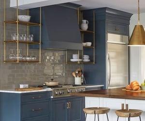 blue, blue kitchen, and modern kitchen image