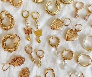 earrings, gold, and golden image