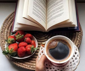 book, coffee, and strawberry image