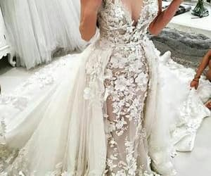 wedding gown, off white wedding dress, and lace wedding dress image