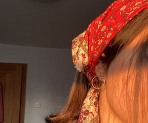 bandana, brown hair, and earrings image