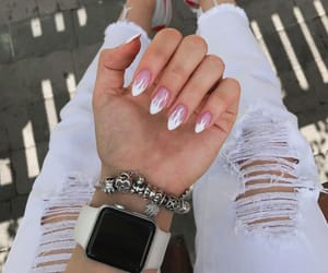 white, nails, and pink image