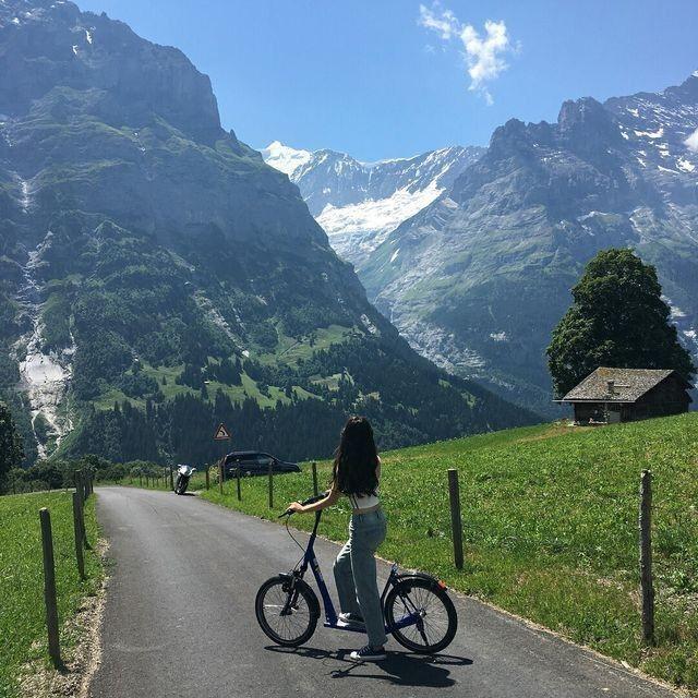 bike, girl, and landscape image
