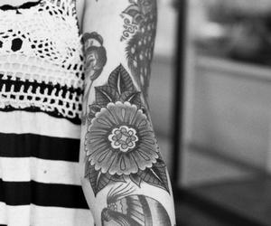 tattoo, flowers, and inked image