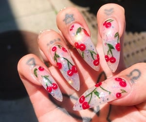 nails, cherry, and acrylic image