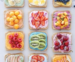 food, fruit, and toast image