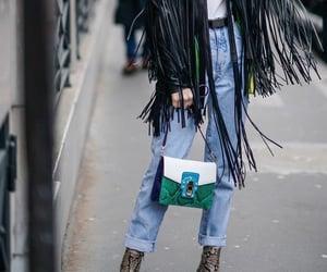 boots, fringe, and denim image