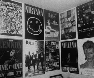nirvana, the beatles, and david bowie image