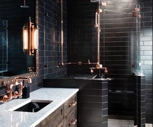 bathroom, black, and house image