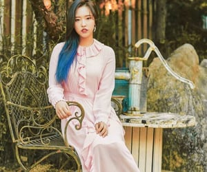 bluehair, pinkdress, and garden image