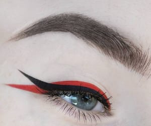 makeup, red, and eyeliner image