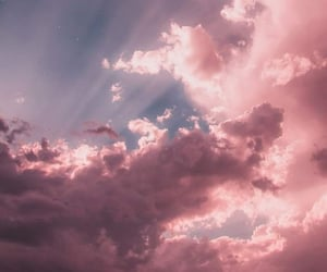 clouds, pink, and sky image