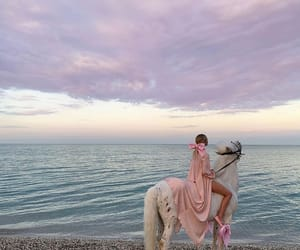 horse, sky, and beach image