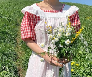 flowers, cottage, and outfit image