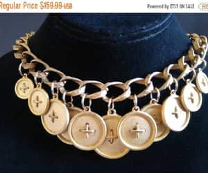 etsy, 1960s 60s sixties, and button bib necklace image