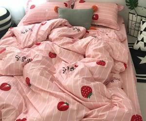 bed sheets, bedroom, and kawaii image
