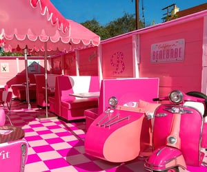 diner, pink, and seating image