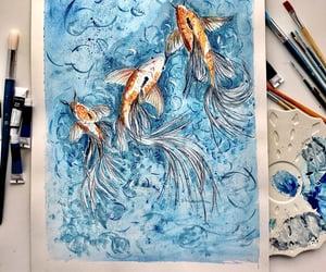 drawing, fish, and koi image