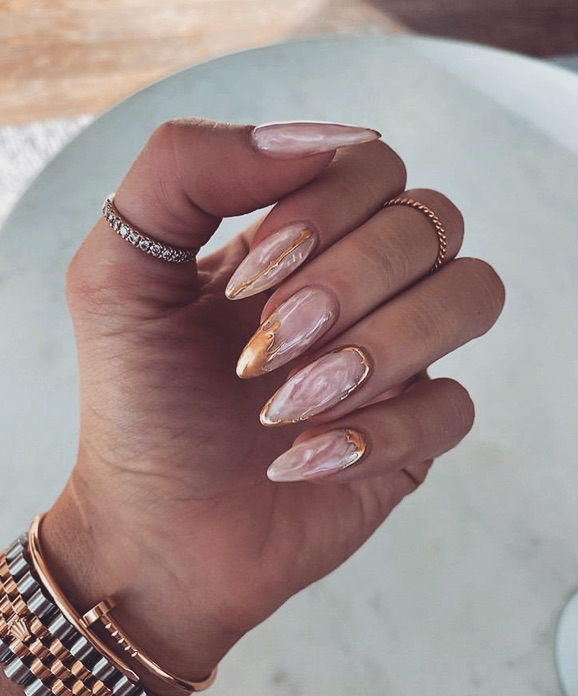 nails, gold, and marble image