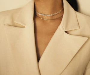 beige, necklace, and outfit image