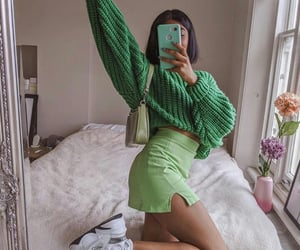 green, fashion, and outfit image