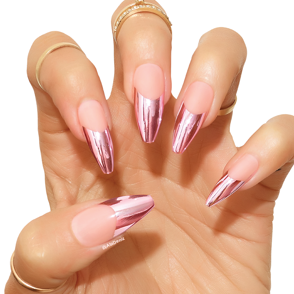 french tips pink chrome image