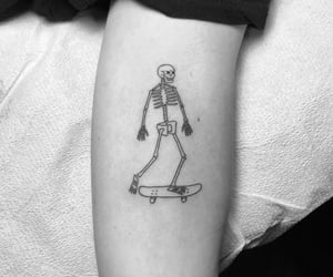 black and white, ink, and skateboard image