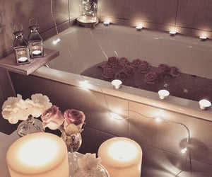 bathroom, rose, and candle image