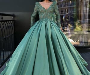 green prom dress, 2020 prom dresses, and ball gown prom dress image