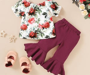 baby girl, girl clothes, and pretty flower print image